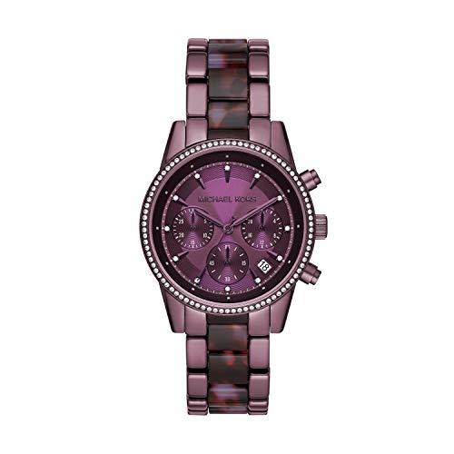 Michael Kors Women's Ritz Quartz Watch with Stainless Steel Strap, Purple, 18 (Model: MK6720)