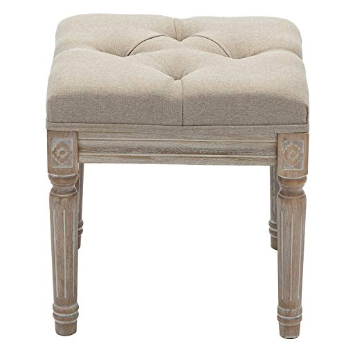 chairus Fabric Upholstered Entryway Ottoman Bench - Classic Bedroom Bench with Rustic Wood Legs - Gray