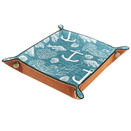 Caja de almacenamiento pequeña, bandeja de valet para hombre,Concha de pescado de ancla ,Organizador de cuero para llaves de caja de monedas