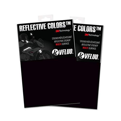 VFLUO 3M Reflective Colors, (2er-Pack) Zuschneidbare retroreflektierende Folien für Motorrad-, Roller-, Fahrrad- und Mehrzweckhelme, 3M Technology, 10 x 15 cm, Noir