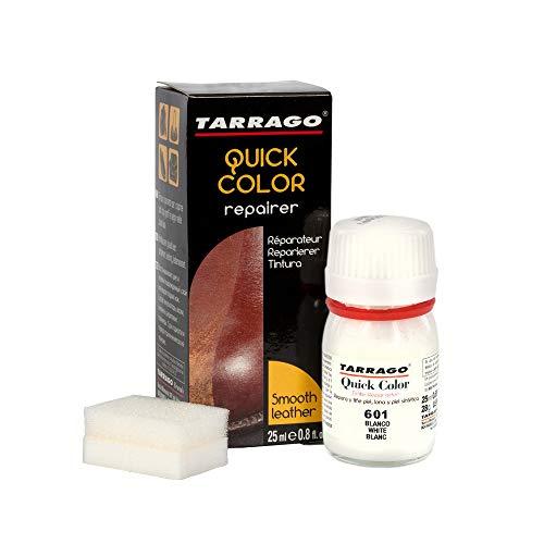 Tarrago | Quick Color 25 ml | Tinte Para Zapatos y Accesorios de Piel, Cuero Liso y Lona | Tintura de Secado Rápido Que Repara y Protege el Calzado de Pequeños Desgastes (Blanco 601)