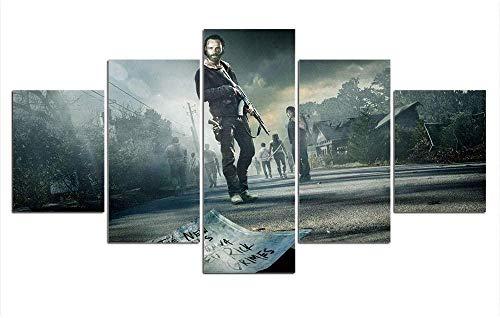 5 piezas cuadro en lienzo Cuadro compuesto por 5 lienzos impresos en HD, utilizados para decoración del hogar y carteles The Walking Dead (150x80cm sin marco)
