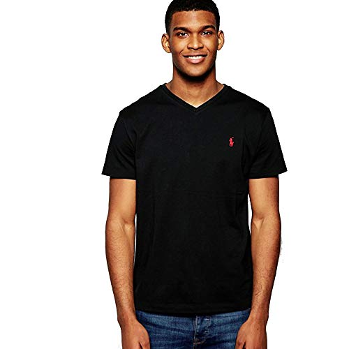 Polo Ralph Lauren Camiseta Custom Slim Fit con cuello de pico (XXL, Polo Black)