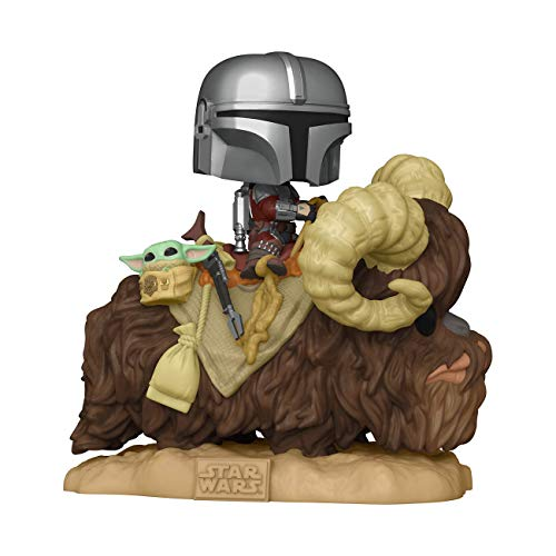 Funko Pop! Deluxe: Mandalorian - Mandalorian on Bantha with Child, Multicolor