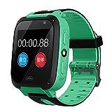 Relógio Inteligente Infantil DragonPad para Meninos e Meninas - Monitor GPS Seguro Anti-Perdidos para Crianças Chamadas GSM Relógio Eletrônico Tela sensível ao toque para Android iOS - Presente de Aniversário para Crianças, Verde, One size