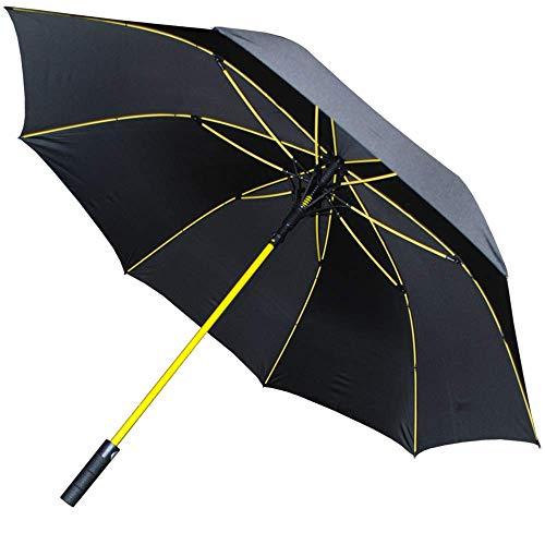 COLLAR AND CUFFS LONDON - 154 cm Arco - 95 km/h A PRUEBA DE VIENTO - MUY FUERTE - Estructura Reforzada con Fibra de Vidrio en Amarillo - Para 1 o 2 Personas - Automático - Paraguas Largos Grande Negro