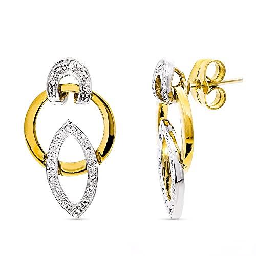 Pendientes oro bicolor 18k mujer largos 20 mm. formas ovaladas caladas combinadas círculo presión