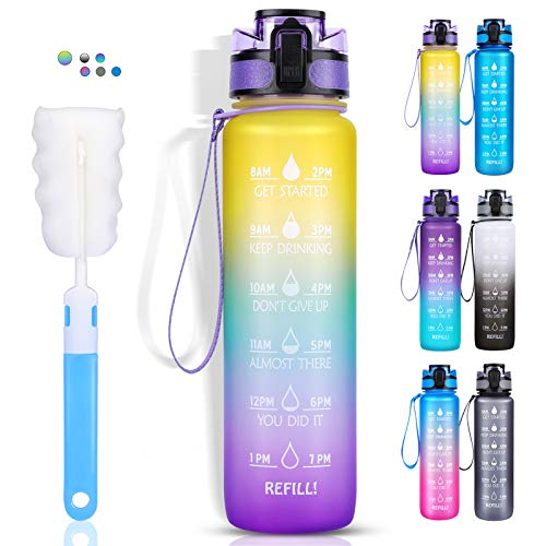 Sports Water Bottle, LEHOM 1 Litre Motivational Water Bottle with Time...