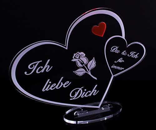 Acryl Schild in Herz Form Ich Liebe Dich Perfekt zu Valentinstag, Jahrestag oder Weihnachten, mit Lasergravur, Geschenk, 205 mm x 170 mm (Ich Liebe Dich Schild)