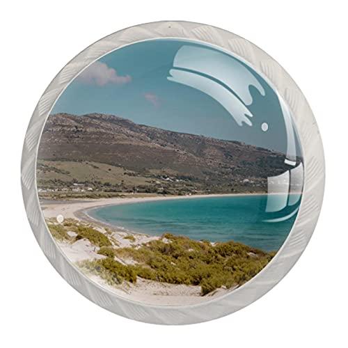 Sea Hills - Pomos de cristal para armario (30 mm, 4 unidades), color azul