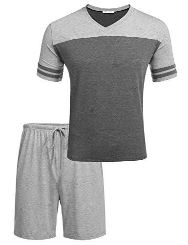 Schlafanzug Herren Kurz Pyjama V-Ausschnitt Zweiteiliger Freizeit Schlafanzughose Nachtwäsche Set für Männer Sommer Grau XL