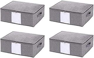 MU Grands organisateurs de boîtes de rangement pliables, avec poignées de transport transparentes, boîtes de rangement pou...