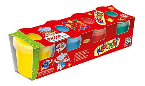 Feuchtmann Spielwaren 6330611 - PHILIPP DIE MAUS KLECKSi 4 Dosen á 150 g hochwertige Fingermalfarbe
