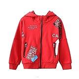 LEEFTM Damen Kinderbekleidung Neue Kapuzenjacke Mädchenbekleidung,Red-10-13Years(160)