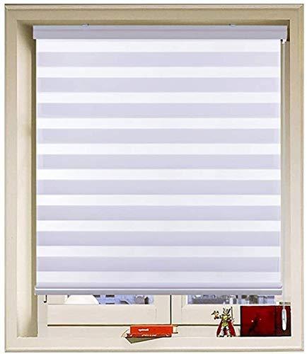 Lanrui Día y Noche Zebra Roller Ciego Tela Doble Translúcida o Blackout Visión Cortinas de Visión Zebra Persianas for Windows Estor Enrollable (Color : White, Size : 110x160cm)