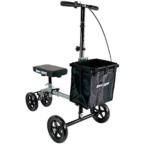 KneeRover Ultra Knee Walker – Lightweight Economy Steerable Knee Scooter Crutches Alternative with Basket in Platinum…