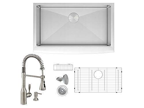 ZUHNE Prato 33 Inch Farm Apron Sink Set + Made in Europe...