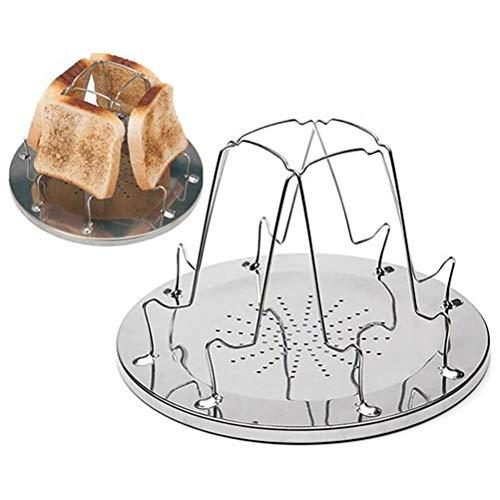 QoFina Campingtoaster, Camping-Toaster Campingtoaster aus Edelstahl Toast-Aufsatz für 4 Schreiben Brot