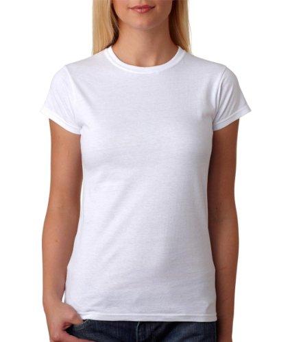 Gildan- Camiseta de manga corta para mujer (Pequeña (S)/Blanco)