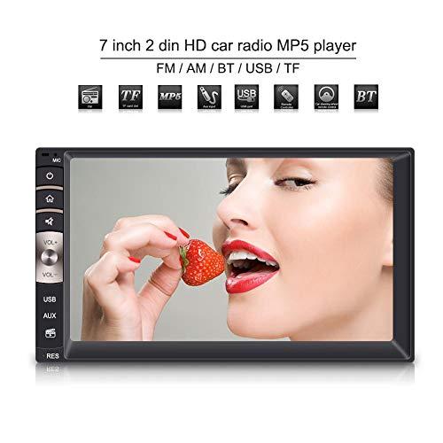 7 pulgadas 2 Din HD MP5 Reproductor de coche con pantalla táctil,Bluetooth Estéreo con cámara de visión trasera Compatibilidad con puerto USB/TF Entrada auxiliar, AM/FM Digital Multimedia Radio.