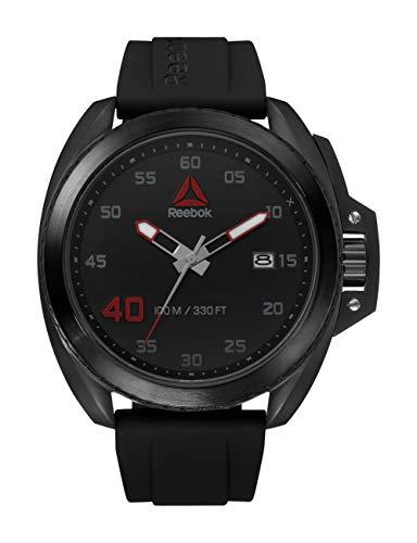 Reebok RD-PRO-G3-SBIB-BR Herren-Armbanduhr, analog, japanisches Quarz, schwarzes Silikonarmband