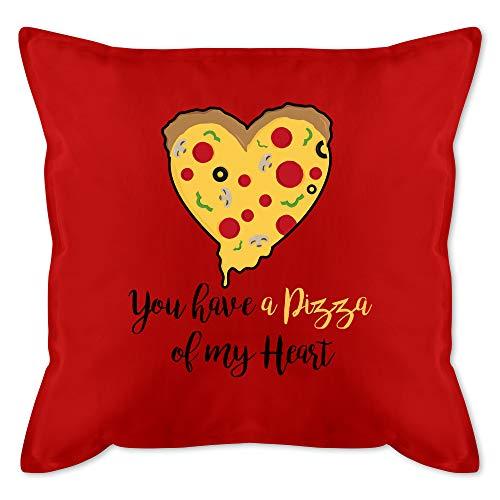 Shirtracer Valentinstag Kissen - You Have a Pizza of My Heart schwarz - Unisize - Rot - Geschenk - GURLI Kissen mit Füllung - Kissen 50x50 cm und Dekokissen mit Füllung