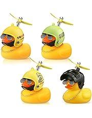 4 Piezas Juguetes de Pato Amarillo de Goma Adornos de Coche Decoraciones de Tablero de Coche de Pato Amarillo con Casco de Hélice (Estilos Divertidos)