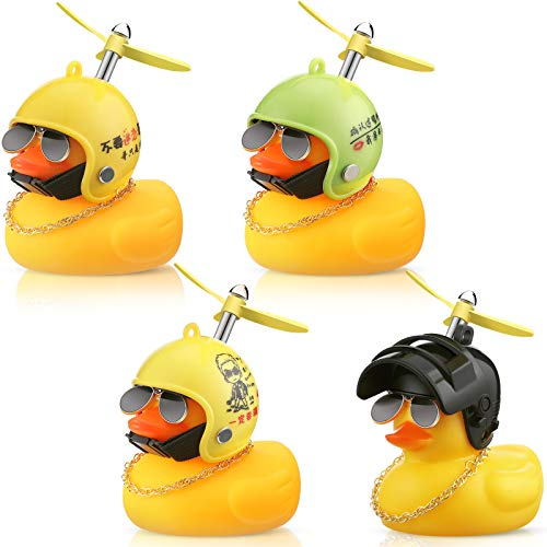 4 Pieces Rubber Yellow Duck Toy Car Ornaments Yellow Duck Car Dashboard Decorations with Propeller Helmet (Funny Styles)