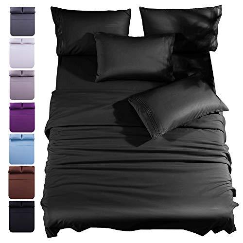 Shilucheng Bambus-Bettwäsche-Set, 6-teilig, Fadenzahl 1800, 40,6 cm tiefe Taschen, kühl, umweltfreundlich, weich und kuschelig, verblasst nicht und hypoallergen, vollschwarz, 6-teilig