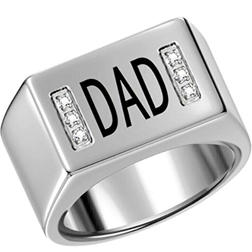 Stainless Steel Dad Ring Father's Day Birthday (Silver, 9)