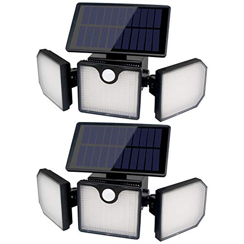 Solar Lights Outdoor, 230 LED 800LM Wireless Solar Motion Sensor Lights Outdoor, 360° Rotatable IP65 Waterproof Security LED Flood Light ,3 Heads 270° Wide Angle llumination (2 Packs)