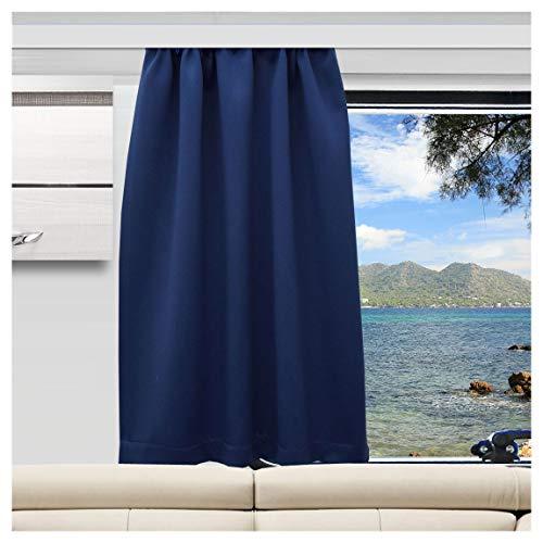 SeGaTeX home fashion Wohnmobil Caravan-Vorhang Mattis blau Verdunklungsdeko Wohnwagengardine mit Reihband (Höhe & Breite nach Maß)