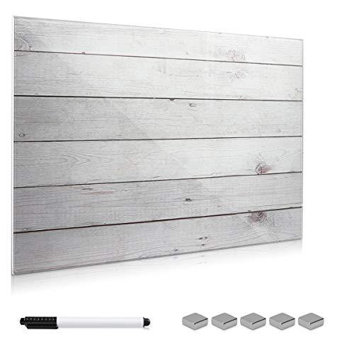 Navaris Magnettafel Memoboard aus Glas - Magnetwand 90x60 cm zum Beschriften - Magnetische Tafel inkl. Magnete Stift Halterung - Holzoptik Design