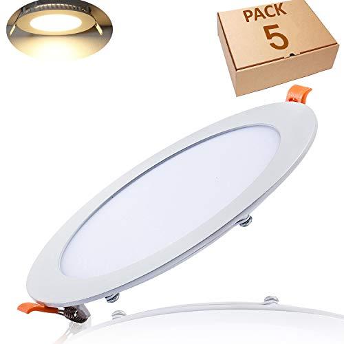 Yafido 5er Led Panel Ultraslim Einbauleuchte 18W ersetzt 200W Halogen 3000K 1350 Lumen Spot Rund Deckenlampe 230V Flach Einbaustrahler mit Teriber Nicht-dimmbar Ø225 x 11 mm