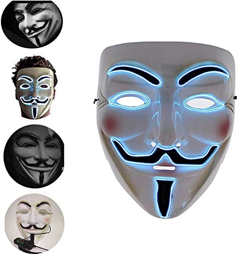 Led Mask Halloween masker V for Vendetta Mask Volledige Masker El Wire Glow Cosplay Costume Mask For Adults Party Decoration Props Pink-19x22, Blauw, 19x22 HAOSHUAI