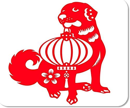 Emonye rutschfestes Mauspad für Computer, Büro, abstrakter roter Schnitt, Hund trägt chinesische Laterne, Sternzeichen, Symbol-Design, antikes Tierspieler, Computerarbeiter, 25 x 30 cm