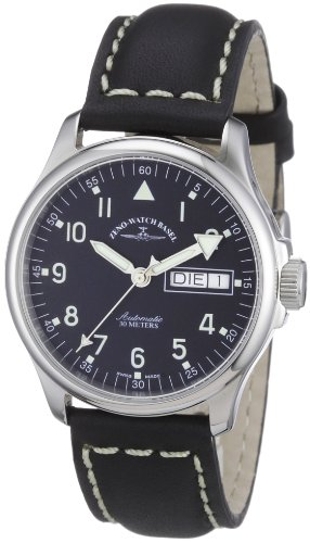 Zeno Watch Basel 12836DDN-a1 - Reloj analógico automático unisex con correa de piel, color negro