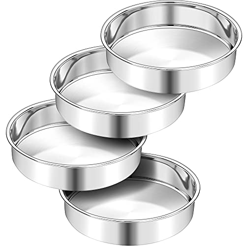 10 Inch Cake Pan Set of 4, AIKWI Stainless Steel Round Baking Pans for Birthday Wedding Christmas,One-piece Molding, Non-Toxic & Healthy, Mirror Finish & Dishwasher Safe