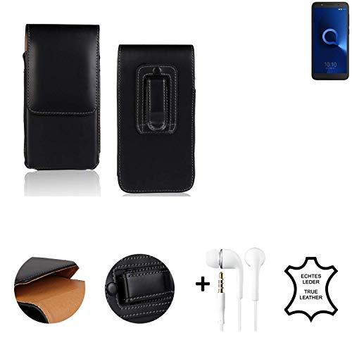 K-S-Trade® Leder Gürtel Tasche + Kopfhörer Für Alcatel 1C Dual SIM Seitentasche Belt Pouch Handy-Hülle Gürteltasche Schutz-Hülle Etui Schwarz 1x
