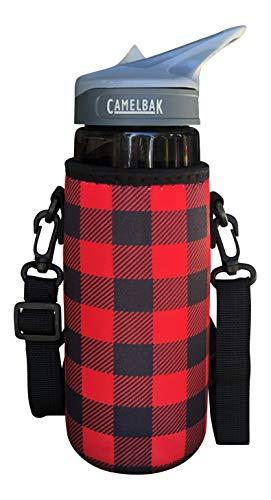 Koverz XL 32-40oz 1200ml Water Bottle Carrier with Shoulder Strap, Water Bottle Holder - Buffalo Plaid