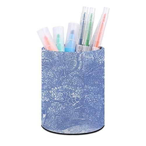 Titular de la pluma de oficina redonda de cuero,Tinta de paisaje azul,Organizador de escritorio para dormitorio de oficina en casa