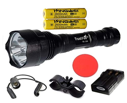Kit original Trustfire TR-500-3 Led CREE XML-T6 3800lm - 1 Modo alto, 2 baterías Kingwei 18650/ Cargador doble (Kit C - Kit completo)