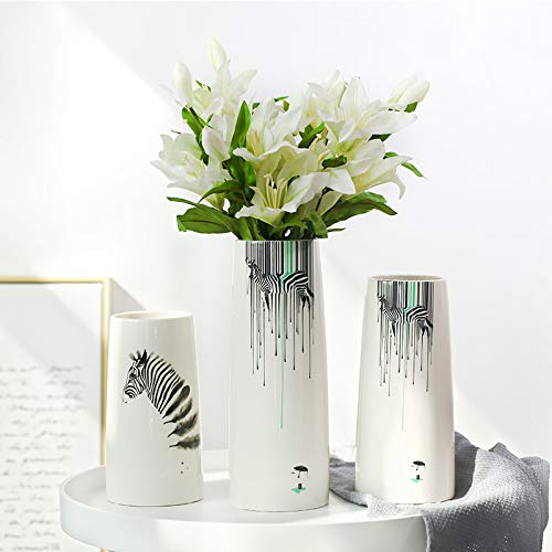 Decorative Nordic minimalist home accessories zebra ceramic vase decoration furnishing model room decoration living room TV cabinet decoration