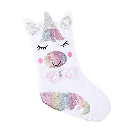 LIOOBO Unicornio calcetín de Navidad Regalo Colgante calcetín Bolsas Decoraciones Adornos sin luz para Chimenea hogar