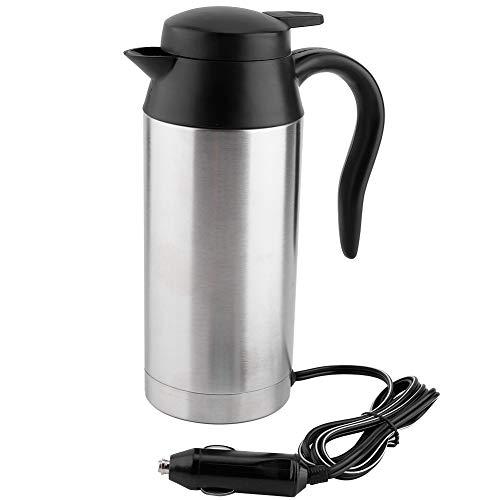 Auto Elektrische Wasserkocher, 750ml Edelstahl 12V Zigarettenanzünder Thermobecher Wasserbecher für Wasser Kaffee Getränke Heizung