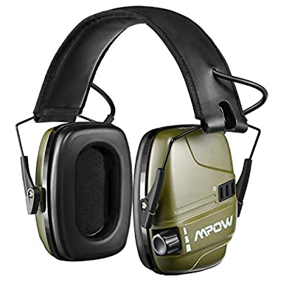HP094A Electronic Shooting Ear Protection, Rechargeable Earmuffs 30Hrs Playtime, Sound Amplification & Auto Cut Off, NRR 22dB Ear Muffs Noise Reduction, Hunting, Mowing, Woodworking, Army Green