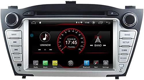 Coche GPS DVD Player Head para Hyundai Tucson IX35 2009-2015 Control De La Dirección del Volante Android Navi Radio Multimedia WiFi Incorporado Carplay con Cable,8core 4g WiFi:4+64gb