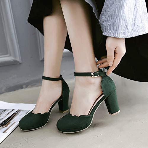 HRCxue Pumps Hollow Damenschuhe Bequeme süße runde Kopf einzelne Schuhe dick mit wasserdicht, dunkelgrün, 39