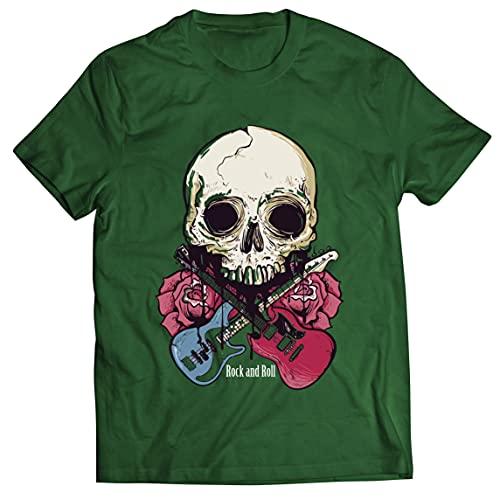 lepni.me Camisetas Hombre Guitarras, Calavera, Rosas - Amantes del Concierto de Rock & Roll (S Verde Oscuro Multicolor)