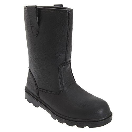 Bottes de manutention Grafters avec orteils en acier - noir - cuir noir,